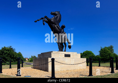 The Newmarket Stallion statue by Marcia Astor and Allan Sly, at Newmarket racecourse, Suffolk, England, UK - Stock Photo