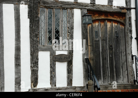 The Tudor beamed facia of a house in the Suffolk village of Lavenham. - Stock Photo