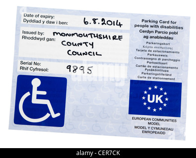 Example pf blue badge issued for parking permission for people with disabilities, UK - Stock Photo