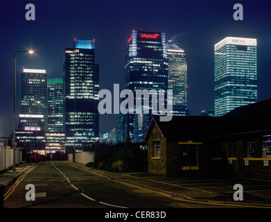 Docklands skyline office blocks at night from Greenwich. - Stock Photo