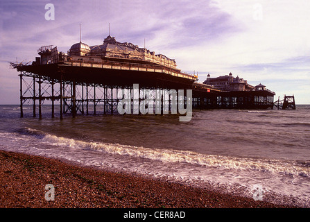 The West Pier in Brighton, cut off from the shore since 1975 and now subject to a major restoration project. - Stock Photo