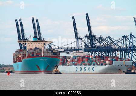 Large container ships in the Port of Felixstowe, the largest container port in the UK. - Stock Photo
