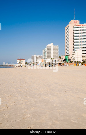 Israel, Tel Aviv coastline as seen from south Sheraton Hotel on the right - Stock Photo