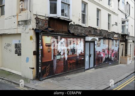 Run down and closed down restaurant premises in Preston Street Brighton UK during the recession 2012 - Stock Photo