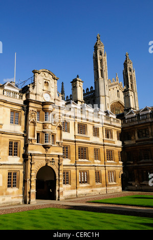 The Old Court of Clare College with King's College Chapel towering in the background. - Stock Photo