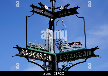 Lavenham Village Sign. - Stock Photo
