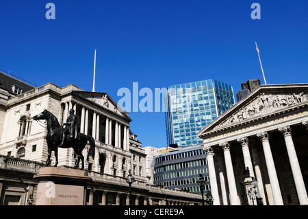 Statue of Wellington, The Bank of England, and The Royal Exchange in Threadneedle Street in the City of London. - Stock Photo