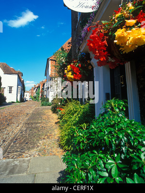 Hanging Baskets Of Flowers On House Fronts In The Town Of