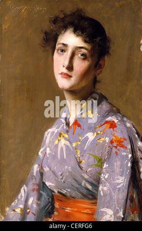 William Merritt Chase American Master Painting - Girl in a