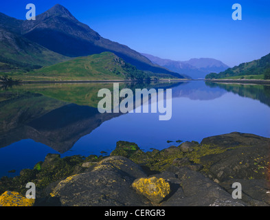 The Pap of Glencoe reflected in Loch Leven. - Stock Photo