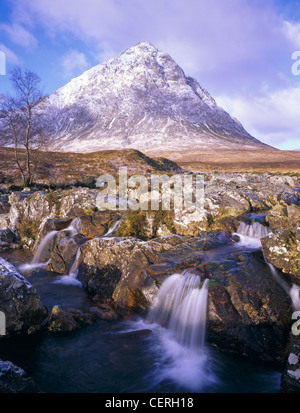 Water running over rocks at Buchaille Etive Mor. - Stock Photo