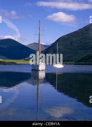 Sailing boats on Loch Leven. - Stock Photo