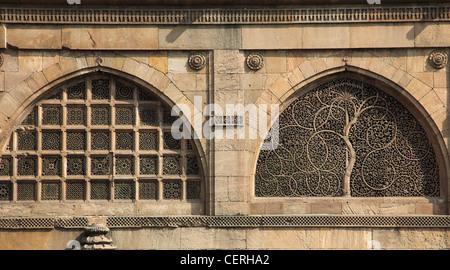 India, Gujarat, Ahmedabad, Sidi Sayad's Mosque, jalis, carved stone windows, - Stock Photo