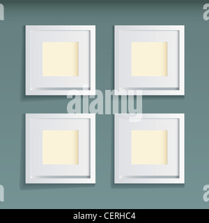 Modern white wood picture frame with green wallpaper background - Stock Photo