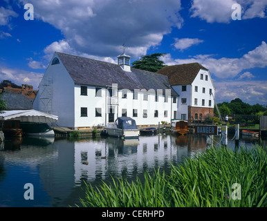 A view across the water to Hambleden Mill. - Stock Photo