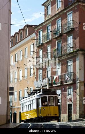 Tram arrived Largo de Santa Luzia, Alfama, Lisbon, Portugal - Stock Photo