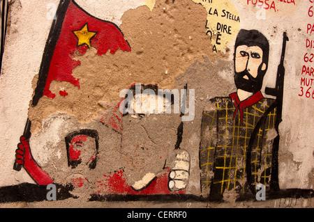 A stripped murals in Orgosolo - Sardinia - Stock Photo