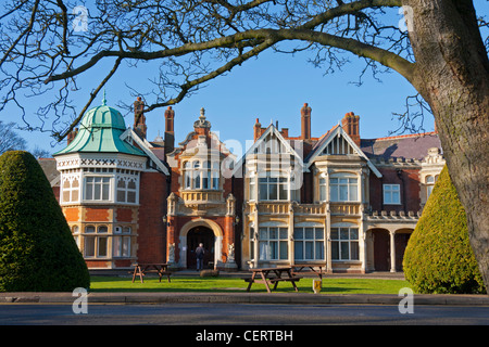 The facade of Bletchley Park Mansion in Buckinghamshire, England. The home of British code breakers during World - Stock Photo