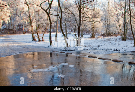 Beautiful winter scene, Stepping Stones Sherbrook Valley early winter Cannock Chase Country Park AONB - Stock Photo