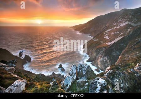 Slieve League cliffs, situated on the West coast of Donegal - Stock Photo