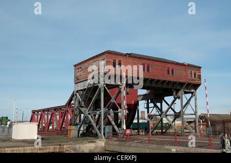 Bascule bridge at the east float Birkenhead docks - Stock Photo