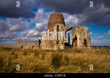 The ruins of St. Benets Abbey on the Norfolk Broads. - Stock Photo
