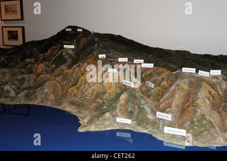 A relief model of the Gallipoli peninsula and the WW1 battlefields - Stock Photo