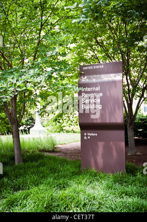 A Sign for the Internal Revenue Service IRS in Washington D.C. - Stock Photo