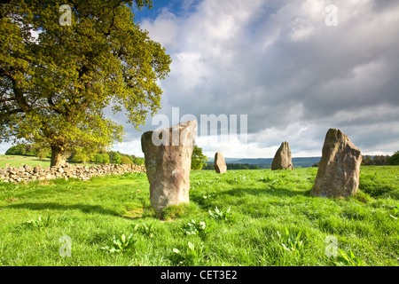 Nine Stones Close, a Bronze age stone circle on Harthill Moor. There are only 4 remaining stones from what was once - Stock Photo