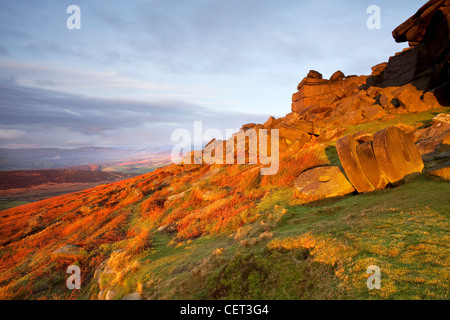 Abandoned millstones beneath Stanage Edge at first light in the Peak District National Park. - Stock Photo