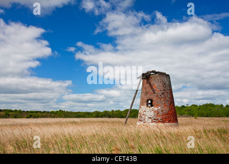 The derelict remains of Westwood Marshes Mill, a Grade II listed tower mill on the Suffolk Coast. The mill is one - Stock Photo