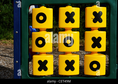 A noughts and crosses (Tic Tac Toe) game for children in a park - Stock Photo