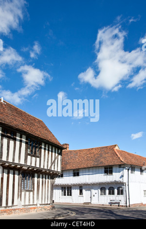 Half-timbered medieval buildings in the historic village of Lavenham. Lavenham gained great prosperity in the 15th - Stock Photo