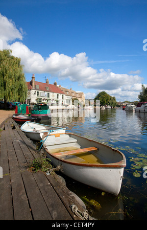 Boats moored on the River Ouse at Ely. - Stock Photo