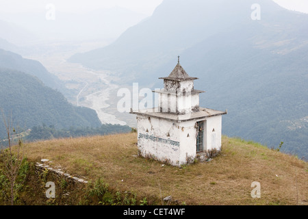 Buddhist temple over the Pokhara Valley - Dhampus Village, Pokhara Valley, Gandaki Zone, Nepal - Stock Photo