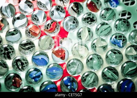 Chinese checkers glass ball background - Stock Photo