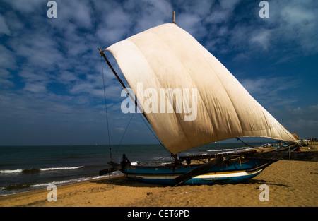 A beautiful catamaran sail boat at Negombo beach in Sri Lanka. - Stock Photo
