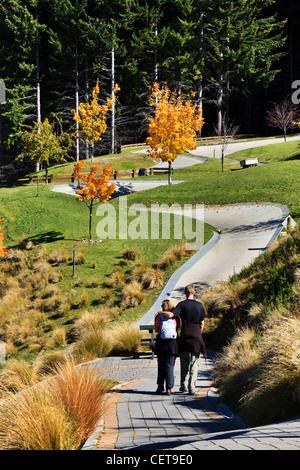Queenstown in Autumn on top of Ben Lomond Reserve - Stock Photo