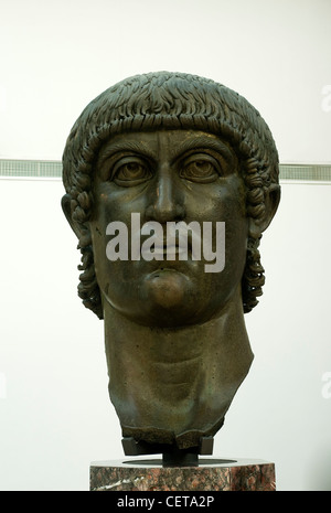 Head of Colossal Bronze Statue of Constantine, Exedra of Marcus Aurelius, Capitoline Museums, Rome, Lazio, Italy - Stock Photo