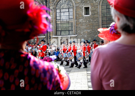 A marching band parading at the London Pearly Kings & Queens Society Costermongers Harvest Festival in Guildhall - Stock Photo