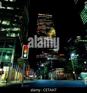 Canary Wharf at night. From 1802 to 1980 the area was one of the busiest docks in the world. - Stock Photo