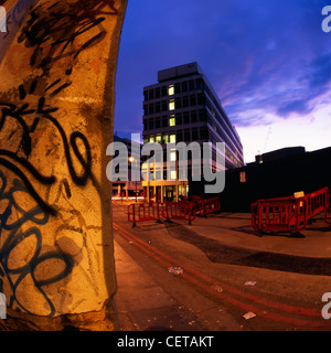 An office block at night on Holywell Lane in the East End of London. - Stock Photo
