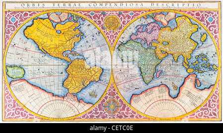 Colored 16th century Mercator map of the world - Stock Photo