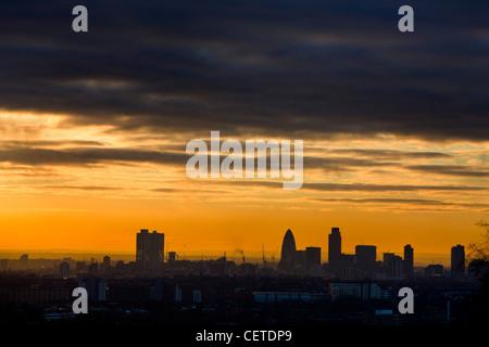 London skyline at dusk photographed from Highgate - Stock Photo