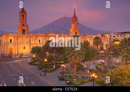 the Cathedral & Plaza de Armas at dusk, Arequipa, Peru - Stock Photo