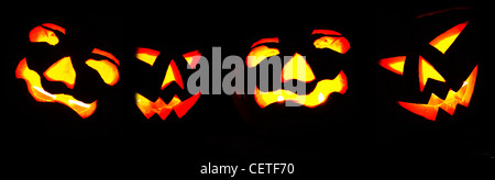 A row of illuminated Halloween pumpkins in Beverley. - Stock Photo