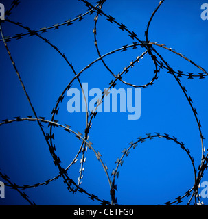 A close up of rings of barbed wire against a blue sky in York. - Stock Photo