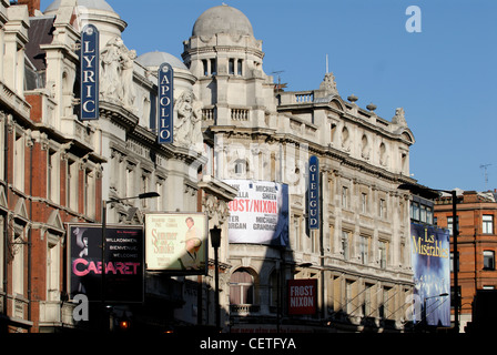 The Lyric, Apollo and Gielgud Theatres in Shaftesbury Avenue. Shaftsbury Avenue is named after Anthony Ashley Cooper, - Stock Photo