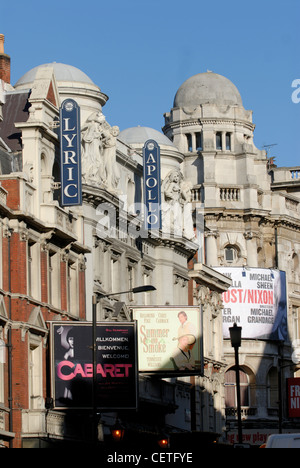The Lyric and Apollo Theatres in Shaftesbury Avenue. Shaftsbury Avenue is named after Anthony Ashley Cooper, 7th - Stock Photo