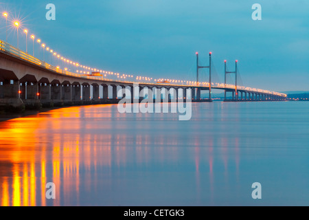 Second Severn Crossing at night. From 1966 to 1996, the original bridge carried the M4 motorway, but on completion - Stock Photo